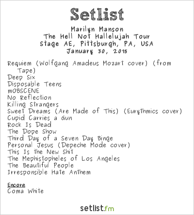 Marilyn Manson Setlist Stage AE, Pittsburgh, PA, USA 2015, The Hell Not Hallelujah Tour