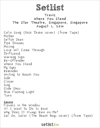 Travis Setlist The Star Theatre, Singapore, Singapore 2014, Where You Stand