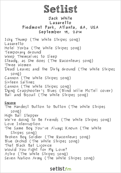 Jack White at Music Midtown 2014 Setlist