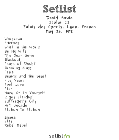 David Bowie Setlist Palais des Sports, Lyon, France 1978, Isolar II Tour