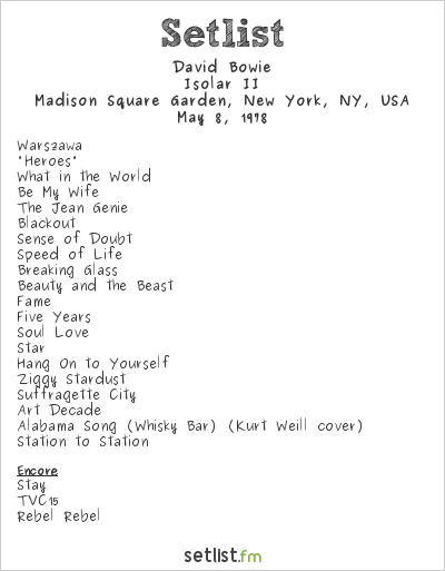 David Bowie Setlist Madison Square Garden, New York, NY, USA 1978, Isolar II Tour