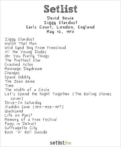 David Bowie Setlist Earls Court, London, England 1973, Ziggy Stardust Tour