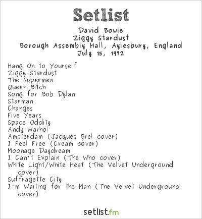 David Bowie Setlist Borough Assembly Hall, Aylesbury, England 1972, Ziggy Stardust Tour
