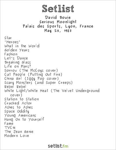 David Bowie Setlist Palais des Sports, Lyon, France 1983, Serious Moonlight Tour