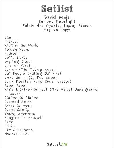David Bowie Setlist Palais des Sports, Lyon, France 1983, Serious Moonlight Tour