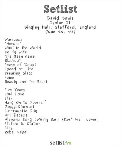 David Bowie Setlist Bingley Hall, Stafford, England 1978, Isolar II Tour