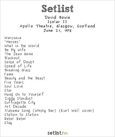 David Bowie Setlist Apollo Theatre, Glasgow, Scotland 1978, Isolar II Tour