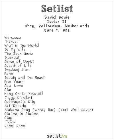 David Bowie Setlist Ahoy, Rotterdam, Netherlands 1978, Isolar II Tour