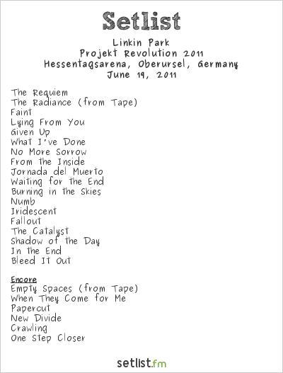 Linkin Park Setlist Hessentag, Oberursel, Germany, Projekt Revolution 2011