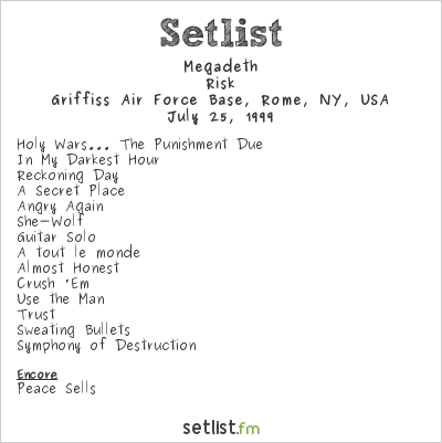 Megadeth Setlist Woodstock '99 1999, Risk