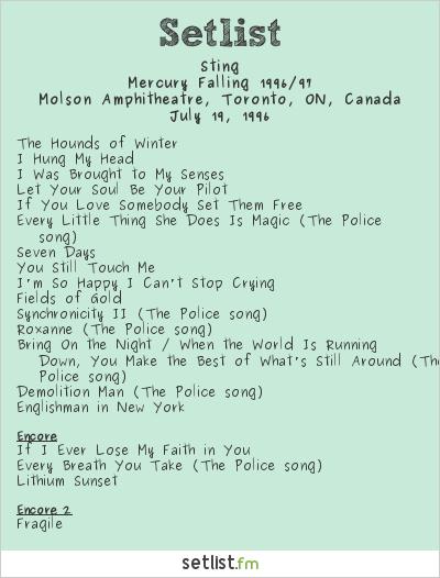 Sting Setlist Molson Amphitheatre, Toronto, ON, Canada 1996, Mercury Falling 1996/97