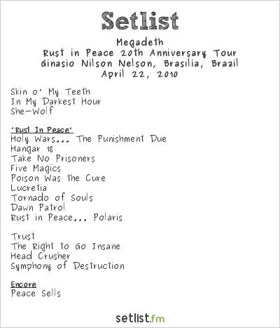 Megadeth Setlist Ginásio Nilson Nelson, Brasília, Brazil 2010, Endgame