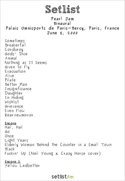 Pearl Jam Setlist Palais Omnisports de Paris-Bercy, Paris, France 2000, Binaural