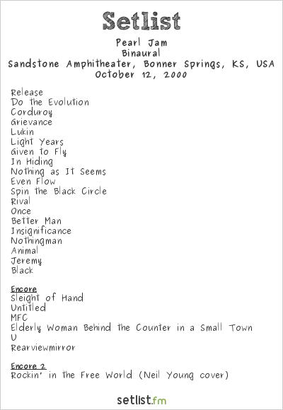 Pearl Jam Setlist Sandstone Amphitheater, Bonner Springs, KS, USA 2000, Binaural