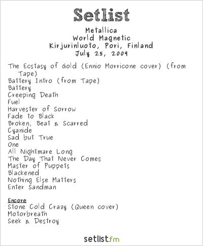 Metallica Setlist Sonisphere Festival, Pori, Finland 2009, World Magnetic