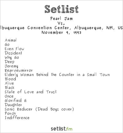 Pearl Jam Setlist Albuquerque Convention Center, Albuquerque, NM, USA 1993, Vs.