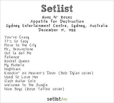 Guns N' Roses Setlist Sydney Entertainment Centre, Sydney, Australia 1988
