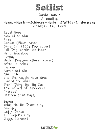 David Bowie Setlist Hanns-Martin-Schleyer-Halle, Stuttgart, Germany 2003, A Reality Tour
