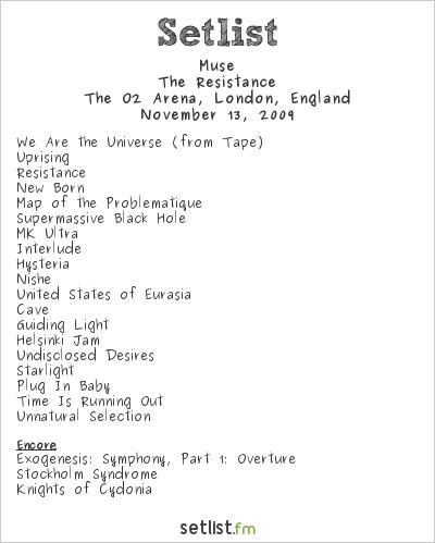Muse Setlist O2 Arena, London, England 2009, Resistance European Arena Tour