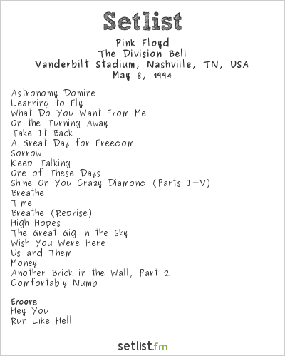 Pink Floyd Setlist Vanderbilt Stadium, Nashville, TN, USA 1994, The Division Bell