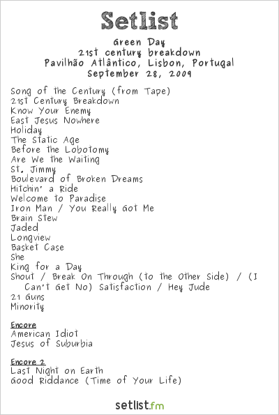 Green Day Setlist Pavilhao Atlantico, Lisbon, Portugal 2009, 21st Century Breakdown Tour