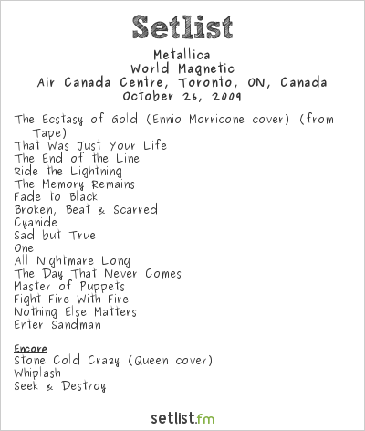Metallica Setlist Air Canada Centre, Toronto, ON, Canada 2009, World Magnetic
