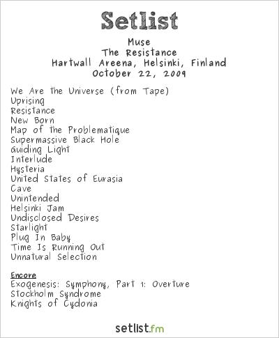 Muse Setlist Hartwall Arena, Helsinki, Finland 2009, Resistance European Arena Tour