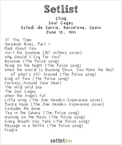 Sting Setlist Estadi de Sarrià, Barcelona, Spain 1991, Soul Cages