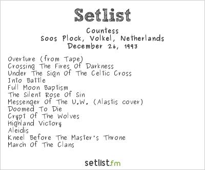 Countess Setlist Soos Plock, Volkel, Netherlands 1993