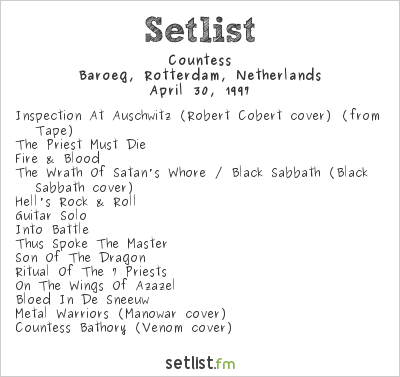 Countess Setlist Baroeg, Rotterdam, Netherlands 1997