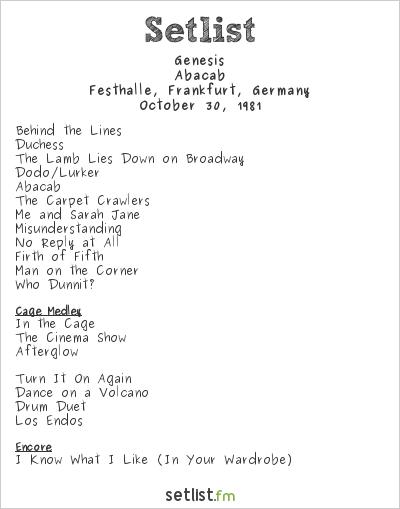 Genesis Setlist Festhalle, Frankfurt, Germany 1981, Abacab Tour