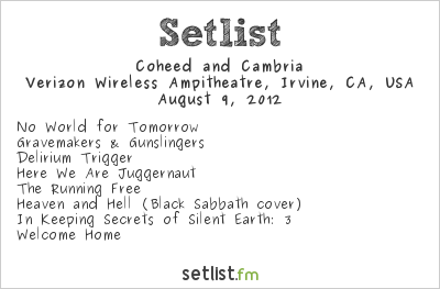 Coheed and Cambria Setlist Verizon Wireless Amphitheater, Irvine, CA, USA, Maiden England - North American Tour 2012