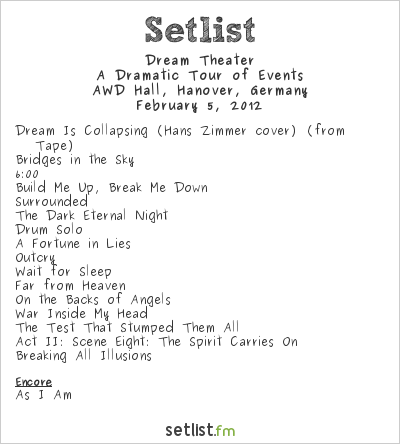 Dream Theater Setlist AWD Hall, Hanover, Germany 2012, A Dramatic Turn of Events