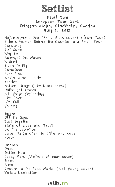 Pearl Jam Setlist Ericsson Globe, Stockholm, Sweden 2012, 2012 European Tour