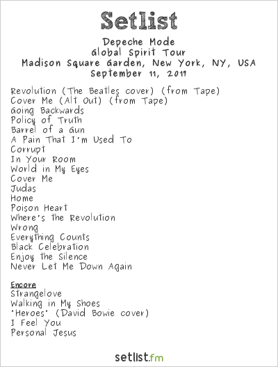 Depeche Mode Setlist Madison Square Garden, New York, NY, USA 2017, Global Spirit Tour