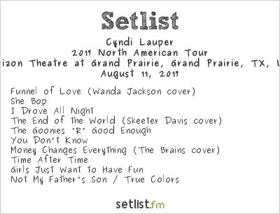 Cyndi Lauper Setlist Verizon Theatre at Grand Prairie, Grand Prairie, TX, USA, Rod Stewart / Cyndi Lauper 2017