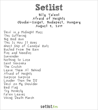 Billy Talent Setlist Sziget Festival 2017 2017, Afraid of Heights