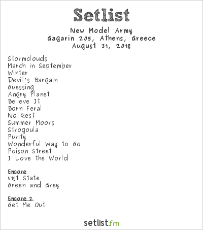 New Model Army Setlist Gagarin 205, Athens, Greece 2018