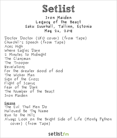 Iron Maiden Setlist Saku Suurhall, Tallinn, Estonia 2018, Legacy of the Beast Tour