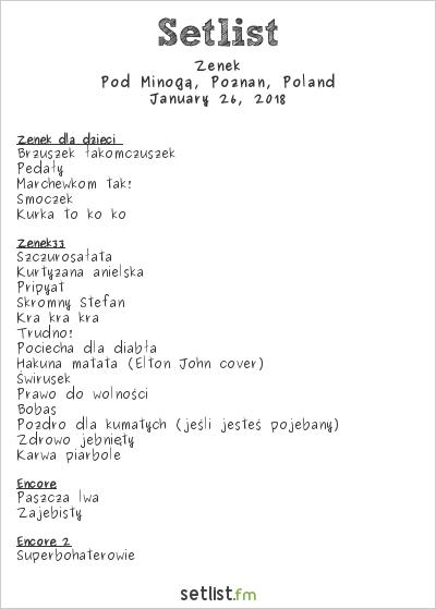 Zenek at Pod Minogą, Poznań, Poland Setlist