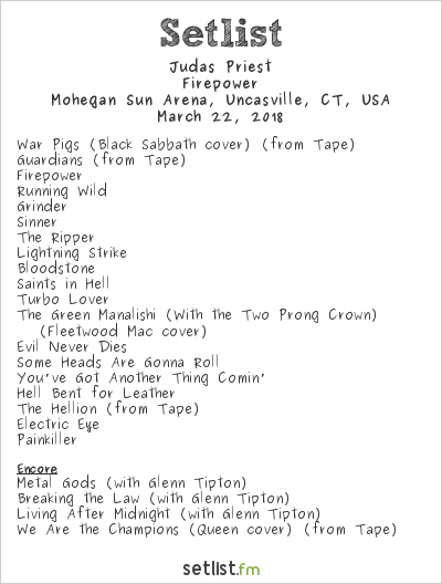 Judas Priest Setlist Mohegan Sun Arena, Uncasville, CT, USA 2018, Firepower