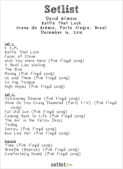 David Gilmour Setlist Arena do Grêmio, Porto Alegre, Brazil 2015, Rattle That Lock