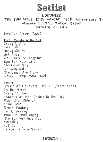 "Loudness Setlist Akasaka Blitz, Tokyo, Japan 2016, LOUDNESS WORLD TOUR 2015 ""THE SUN WILL RISE AGAIN"" ~30th Anniversary Thunder in the East~ in JAPAN"