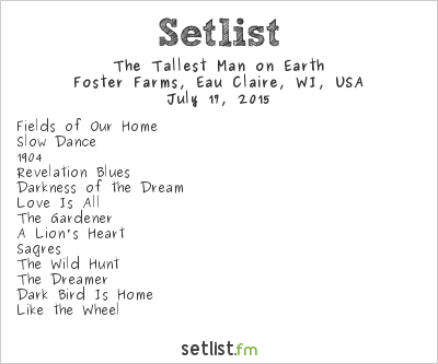The Tallest Man on Earth Setlist Eaux Claires 2015 2015