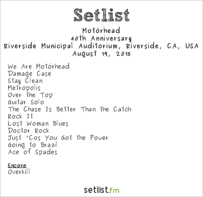Motörhead Setlist Riverside Municipal Auditorium, Riverside, CA, USA 2015, Bad Magic