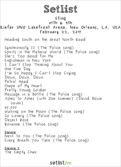 Sting Setlist Kiefer UNO Lakefront Arena, New Orleans, LA, USA 2017, 57th & 9th