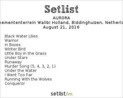 AURORA Setlist Lowlands Festival 2016 2016