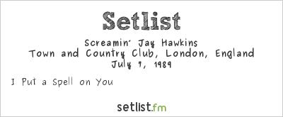 screamin jay hawkins setlist town and country club london england 1989 widgets. Black Bedroom Furniture Sets. Home Design Ideas