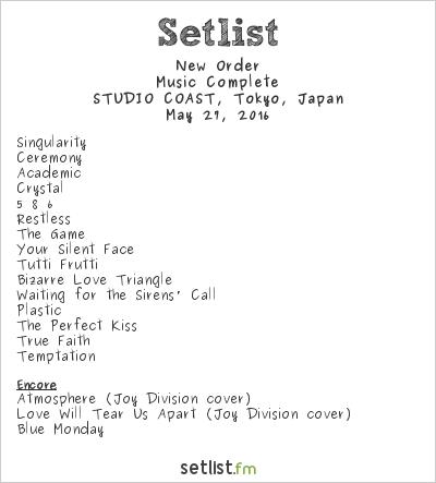 New Order Setlist Shinkiba Studio Coast, Tokyo, Japan 2016, Music Complete
