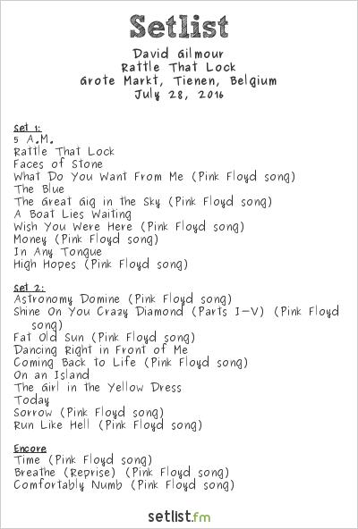 David Gilmour at Grote Markt, Tienen, Belgium Setlist